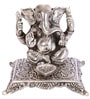 JaipurCrafts Lord Ganesha-Chowki Silver Aluminum Showpiece