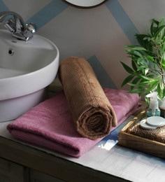 JBG Home Store Pink & Beige 100% Cotton 30 X 72 Inch Bath Towel - Set Of 2