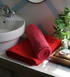 JBG Home Store Red 100% Cotton 30 X 60 Inch Bath Towel - Set Of 2