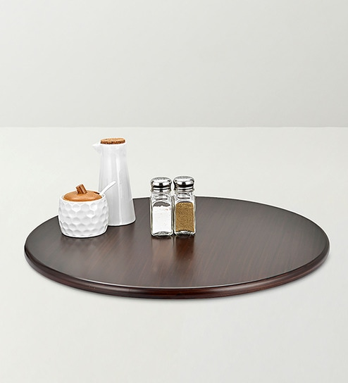 Black Mdf 21 Inch Turntable Lazy Susan