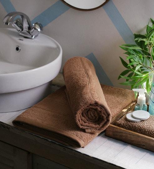 Buy JBG Home Store Beige 100% Cotton 30 x 60 Inch Bath Towel - Set ...