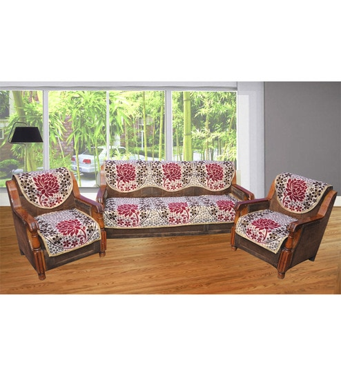 Buy JBG Home Store Lotus Design Red Poly Cotton Sofa Cover Set