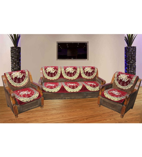 Online Sofa Store: Buy JBG Home Store Luxury Red Polyester Sofa Cover Set