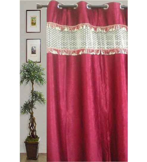 JBG Home Store Maroon Stylish Tissue Lace Design Long Door Curtains ...