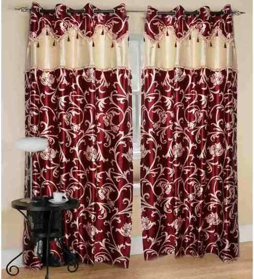 JBG Home Store Beautiful Red Flower And Lace Design Curtains Set Of Two