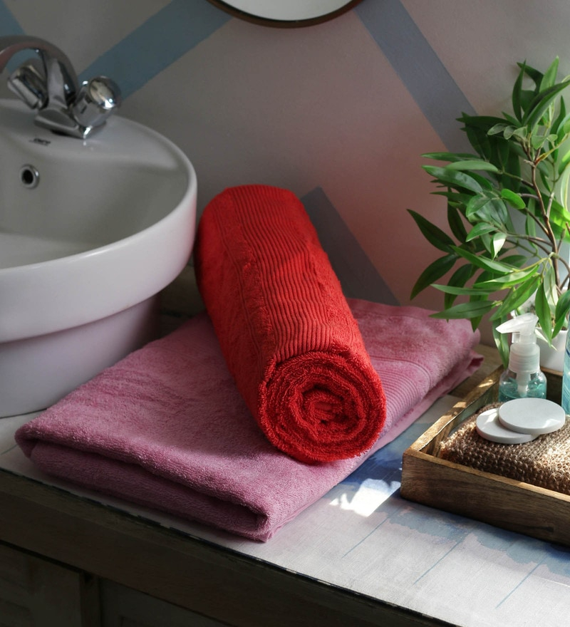 JBG Home Store Pink & Red 100% Cotton 30 x 60 Inch Bath Towel - Set of 2