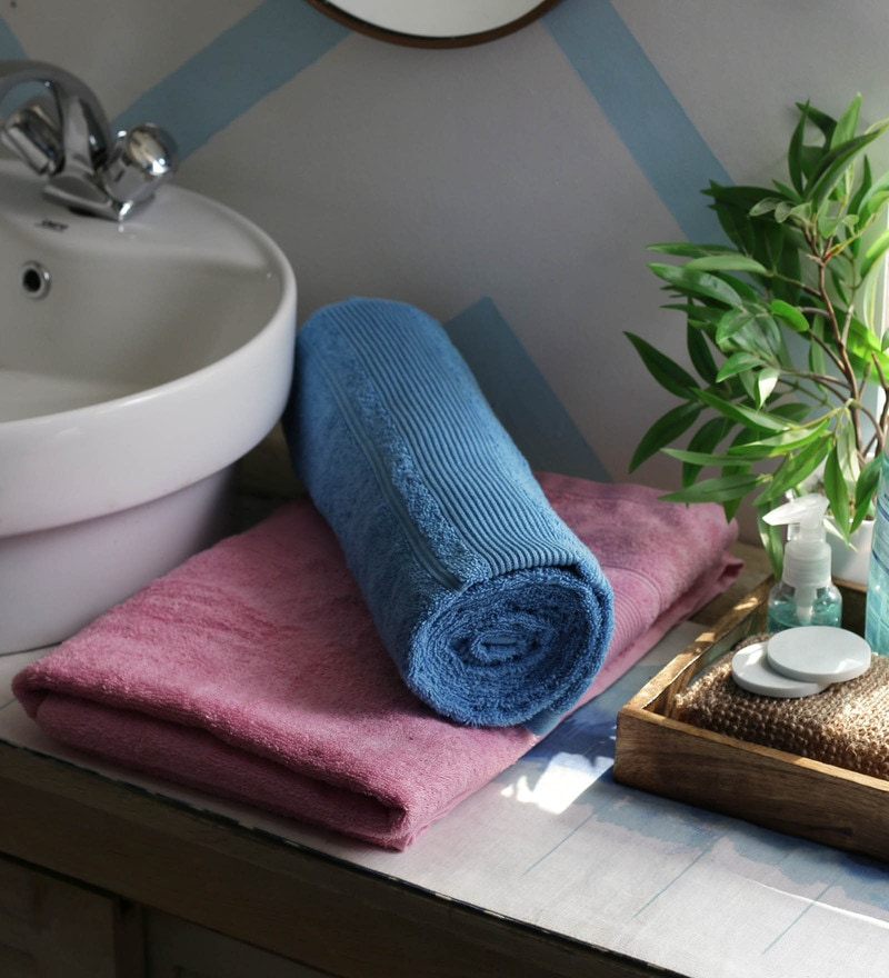 JBG Home Store Pink & Skyblue 100% Cotton 30 x 60 Inch Bath Towel - Set of 2