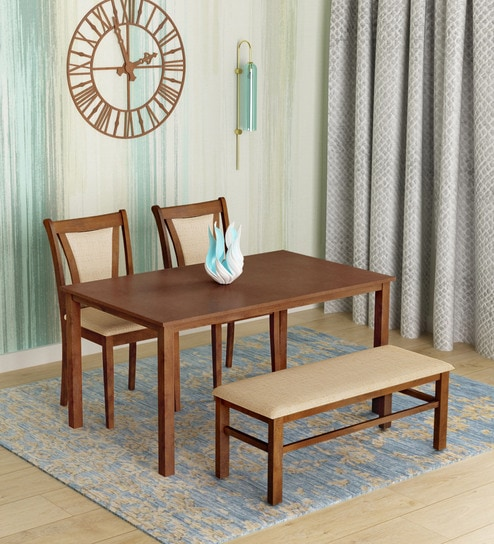 Jewel Four Seater Dining Set With Bench In Walnut Finish By Home