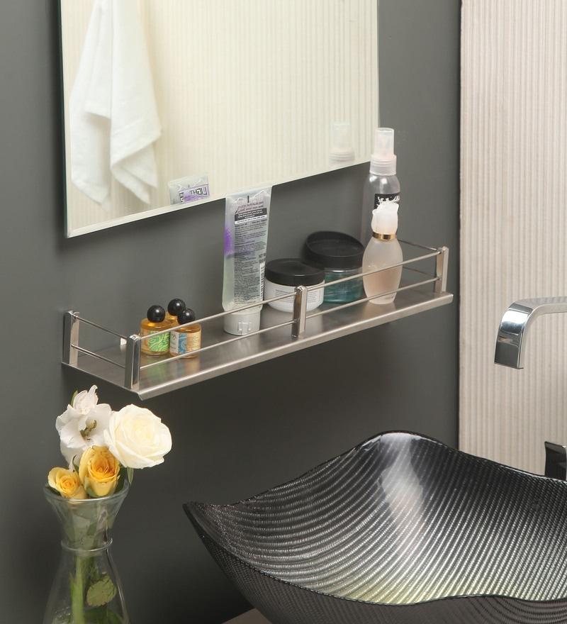 Jest Silver Steel Bathroom Shelf