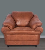 Jinerio One Seater Sofa in Camel Brown Finish