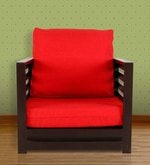 Jinjer Contemporary One Seater Sofa in Red Colour