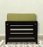 Jinjer Slatted Cushioned Stool in Green Colour