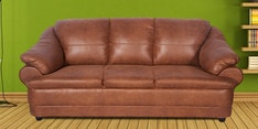 Jinerio Three Seater Sofa in Camel Brown Finish