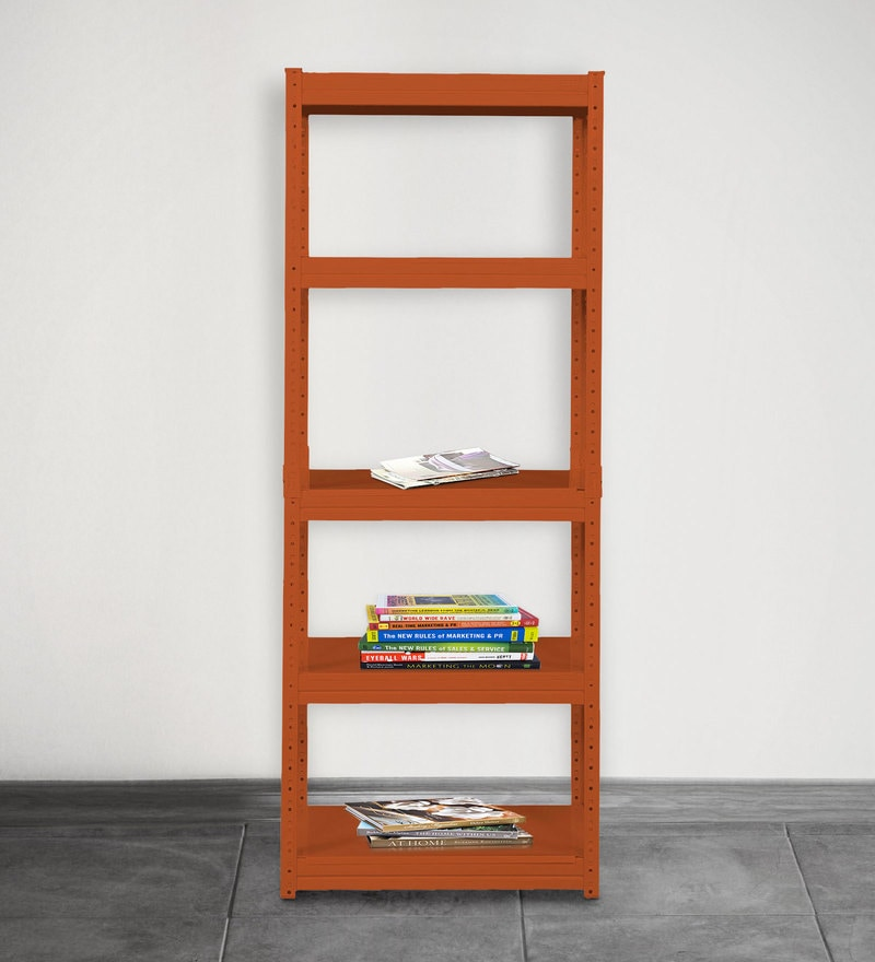 Jin Display Unit cum Book Shelf in Orange Finish by Mintwud