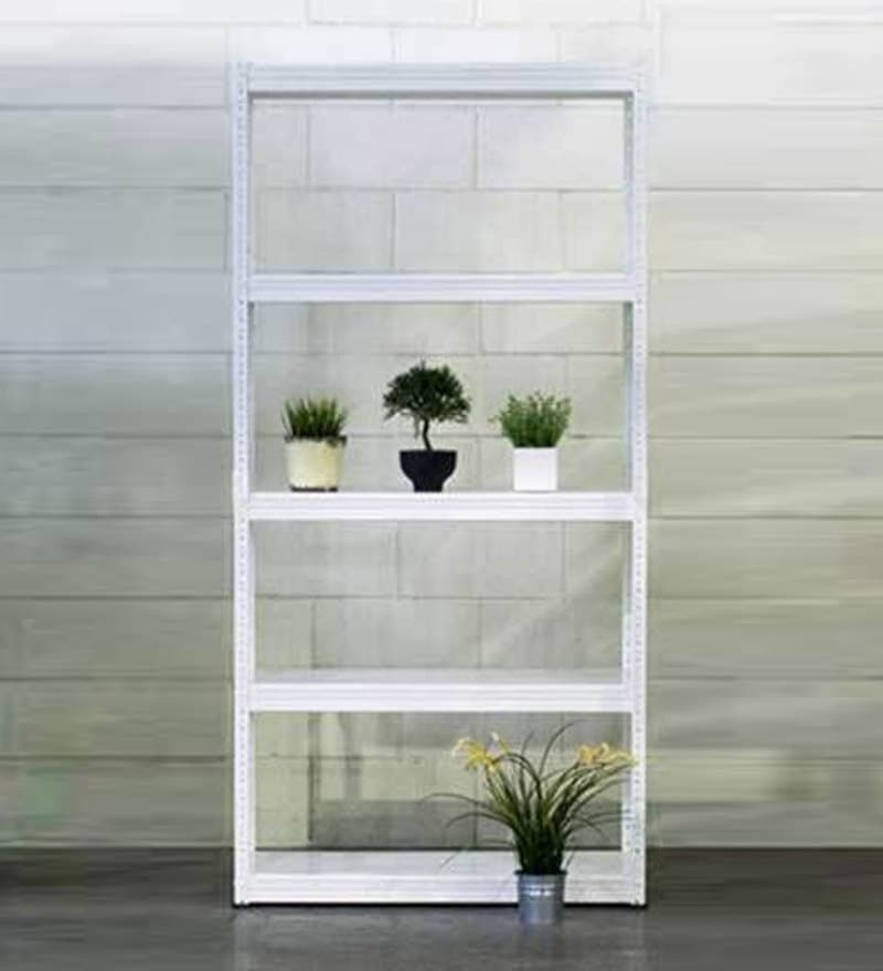Jin Display Unit cum Book Shelf in White Finish by Mintwud