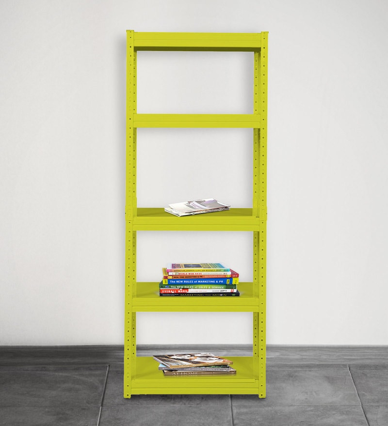 Jin Display Unit cum Book Shelf in Yellow Finish by Mintwud