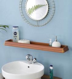 JJ Sanitaryware Aluminium Yellow Teak Bathroom Shelf (Model: Bs-2)