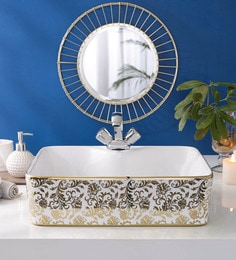 JJ Sanitaryware Ceramic Golden Bathroom Wash Basin - 1675013