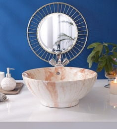 JJ Sanitaryware Ceramic Ivory Bathroom Wash Basin