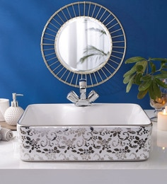 JJ Sanitaryware Ceramic Silver Bathroom Wash Basin - 1675015