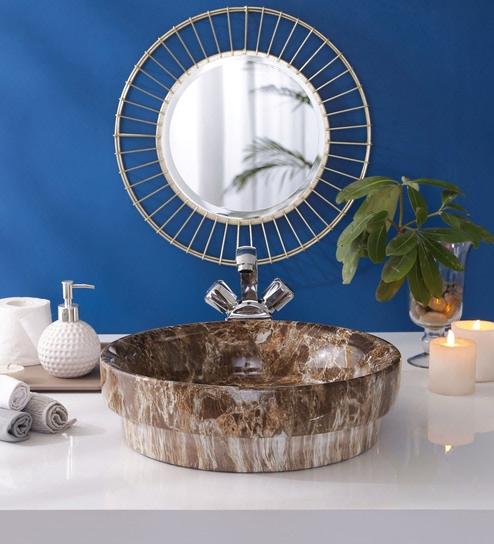 JJ Sanitaryware Ceramic Brown Bathroom Wash Basin - 1675024