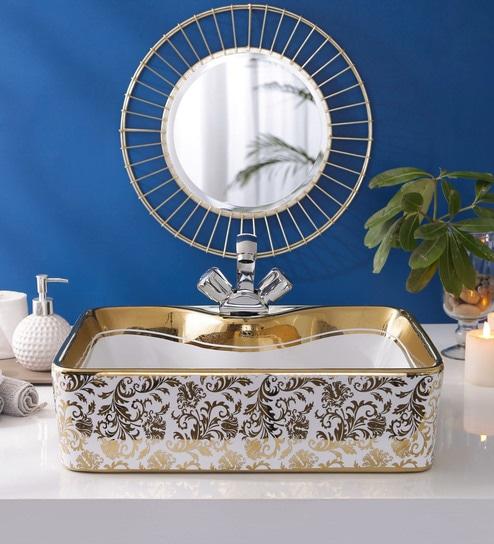 JJ Sanitaryware Ceramic Golden Bathroom Wash Basin