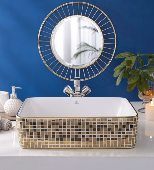 JJ Sanitaryware Ceramic Golden Bathroom Wash Basin - 1675011