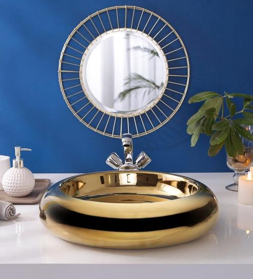 JJ Sanitaryware Ceramic Golden Bathroom Wash Basin - 1675020