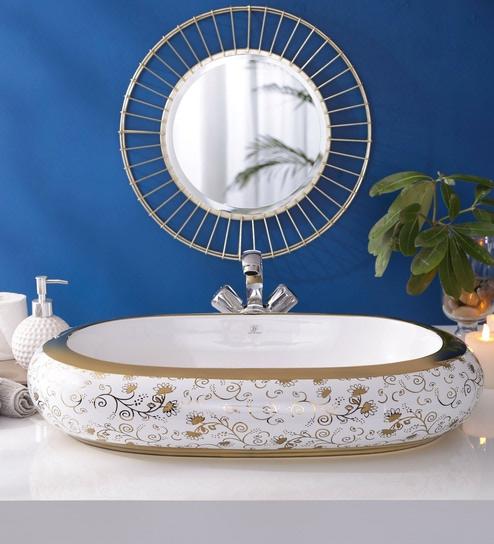 JJ Sanitaryware Ceramic Golden Bathroom Wash Basin - 1675016