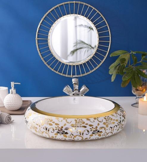 JJ Sanitaryware Ceramic Golden Bathroom Wash Basin - 1675019