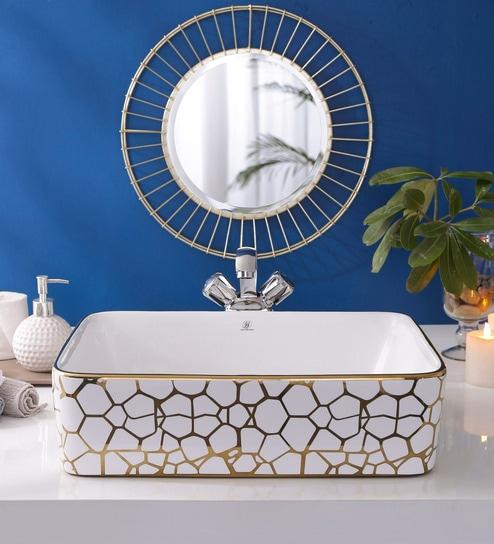 JJ Sanitaryware Ceramic Golden Bathroom Wash Basin - 1675012