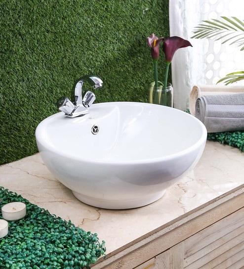 JJ Sanitaryware Ceramic White Bathroom Wash Basin - 1675000