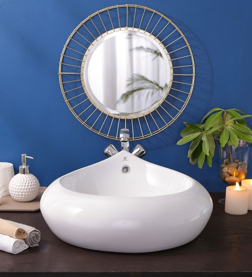 JJ Sanitaryware Ceramic White Bathroom Wash Basin - 1675007