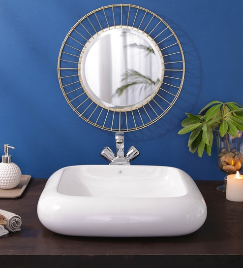 JJ Sanitaryware Ceramic White Bathroom Wash Basin - 1675005