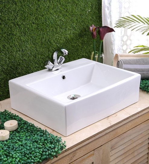 JJ Sanitaryware Ceramic White Bathroom Wash Basin - 1675008 Best ...