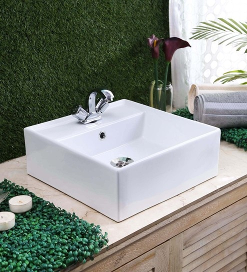 JJ Sanitaryware Ceramic White Bathroom Wash Basin - 1675010