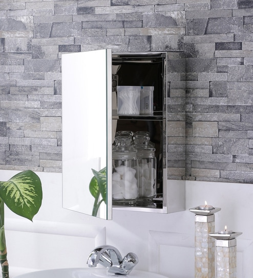 Stainless Steel Silver 2 Compartment Bathroom Cabinet With Mirror L 14 W 4 5 H 18 Inches By Jj Sanitaryware