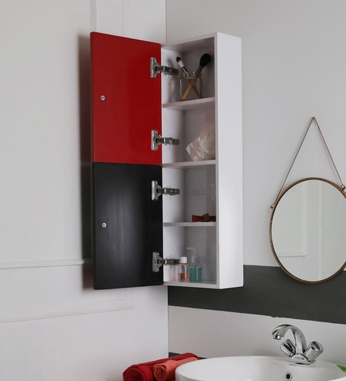 Red 4 Compartment Bathroom Cabinet