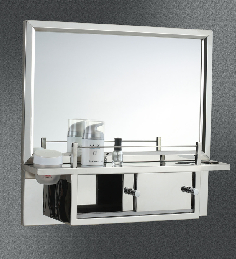 Buy lavinia stainless steel bathroom mirror cabinet by jj sanitaryware online bathroom for Bathroom mirror cupboard