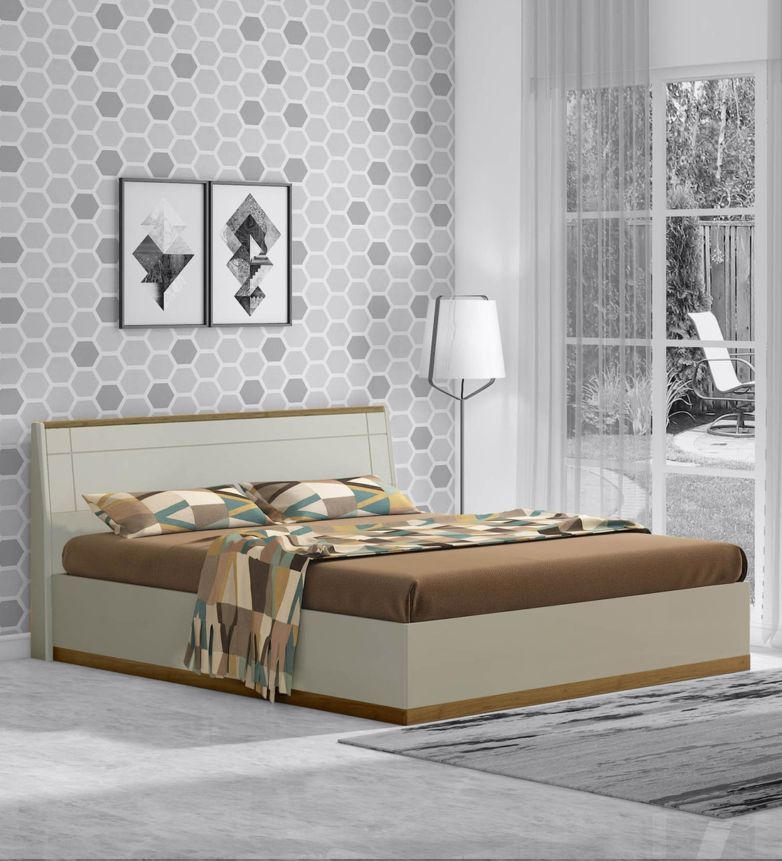Buy Josefa King Size Bed With Storage In Natural Teak Wood Finish By Casacraft Online Contemporary King Size Beds Beds Furniture Pepperfry Product