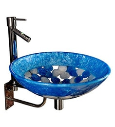 Joyo Cera Blue & White Resin Wash Basin With Stand,Extantion Body Pillar Tap & Brass Waste Coupling (Model: Joyo Cera 257)