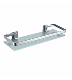 Joyo Cera Chrome Finish Frosted Glass 16 X 5 Inch Front Bathroom Shelf With Bracket (Model: Gls167)