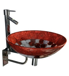 Joyo Cera Copper & White Resin Wash Basin With Stand,Extantion Body Pillar Tap & Brass Waste Coupling (Model: Joyo Cera 240)
