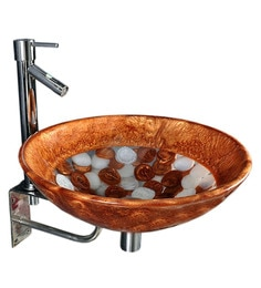 Joyo Cera Golden & White Resin Wash Basin With Stand,Extantion Body Pillar Tap & Brass Waste Coupling (Model: Joyo Cera 245)
