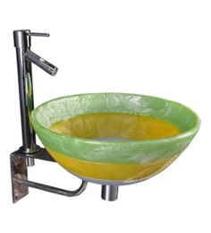 Joyo Cera Green Resin Wash Basin With Stand,Extantion Body Pillar Tap & Brass Waste Coupling (Model: Joyo Cera 224)