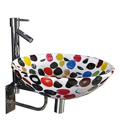 Joyo Cera Multicolour Resin Wash Basin With Stand,Extantion Body Pillar Tap & Brass Waste Coupling (Model: Joyo Cera 255)