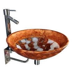 Joyo Cera Resin Designer Gold & White Wash Basin With Stand