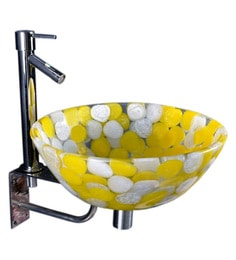 Joyo Cera Yellow & White Resin Wash Basin With Stand,Extantion Body Pillar Tap & Brass Waste Coupling (Model: Joyo Cera 220)