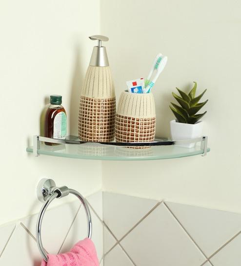Joyo Cera Chrome Finish Frosted Glass 10 x 10 Inch Corner Bathroom Shelves with Bracket -