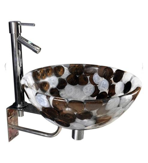 Joyo Cera Resin Designer Brown & White Wash Basin With Stand - 1691238